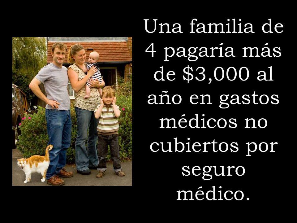 Una familia de 4 pagaría más de $3,000 al año en gastos médicos no cubiertos por seguro médico.