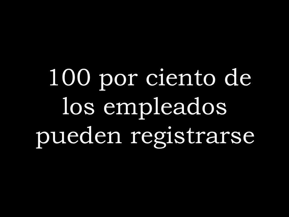 100 por ciento de los empleados pueden registrarse