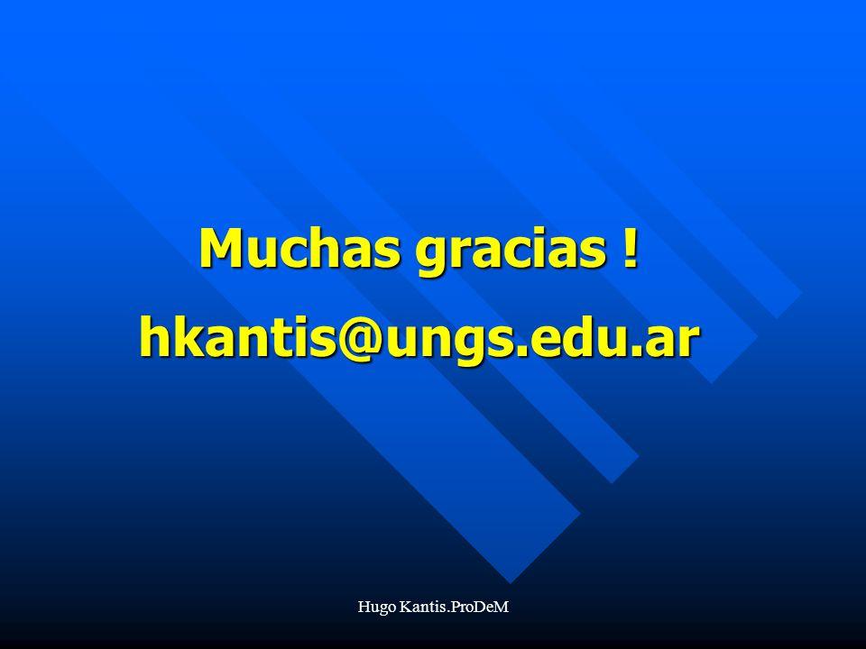 Hugo Kantis.ProDeM Muchas gracias ! hkantis@ungs.edu.ar