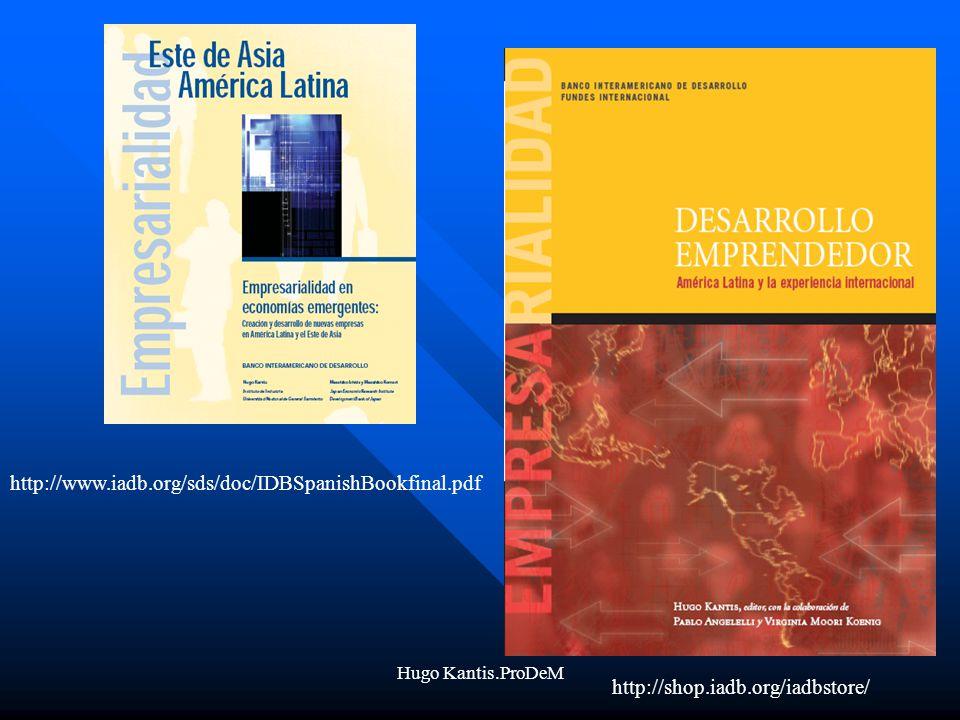 Hugo Kantis.ProDeM http://www.iadb.org/sds/doc/IDBSpanishBookfinal.pdf http://shop.iadb.org/iadbstore/