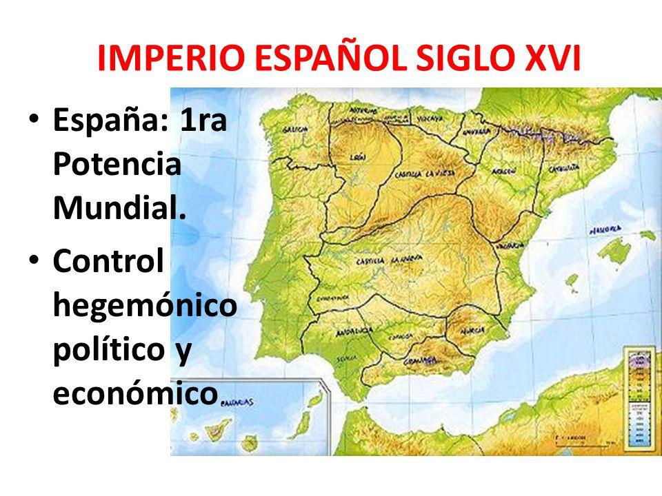 España: 1ra Potencia Mundial. Control hegemónico político y económico.