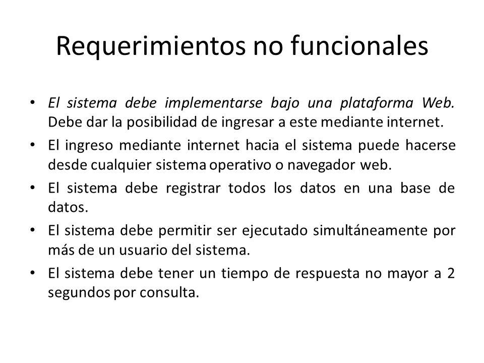 Requerimientos no funcionales El sistema debe implementarse bajo una plataforma Web. Debe dar la posibilidad de ingresar a este mediante internet. El