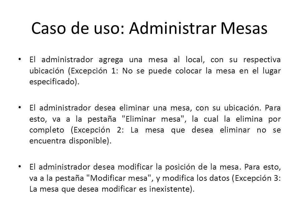 Caso de uso: Administrar Mesas El administrador agrega una mesa al local, con su respectiva ubicación (Excepción 1: No se puede colocar la mesa en el