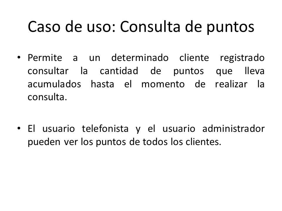 Caso de uso: Consulta de puntos Permite a un determinado cliente registrado consultar la cantidad de puntos que lleva acumulados hasta el momento de r