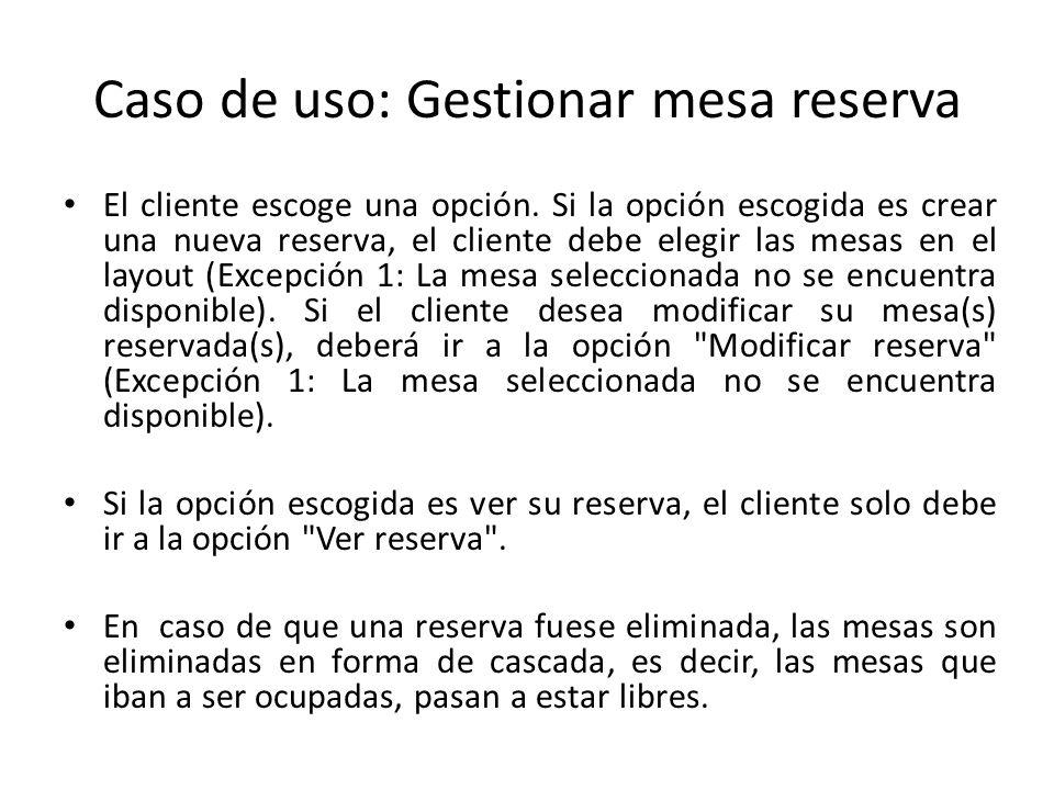 Caso de uso: Gestionar mesa reserva El cliente escoge una opción. Si la opción escogida es crear una nueva reserva, el cliente debe elegir las mesas e