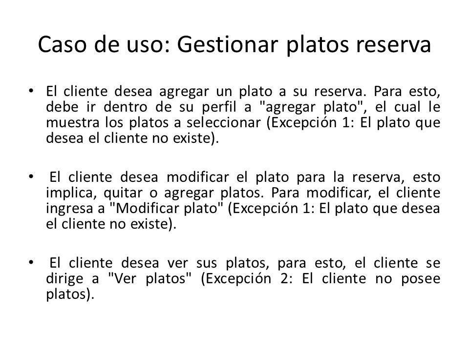 Caso de uso: Gestionar platos reserva El cliente desea agregar un plato a su reserva. Para esto, debe ir dentro de su perfil a