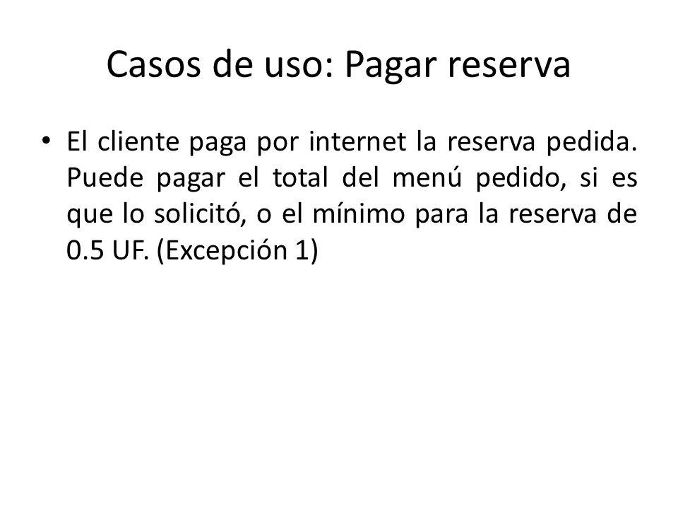 Casos de uso: Pagar reserva El cliente paga por internet la reserva pedida. Puede pagar el total del menú pedido, si es que lo solicitó, o el mínimo p