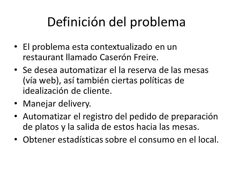 Definición del problema El problema esta contextualizado en un restaurant llamado Caserón Freire. Se desea automatizar el la reserva de las mesas (vía