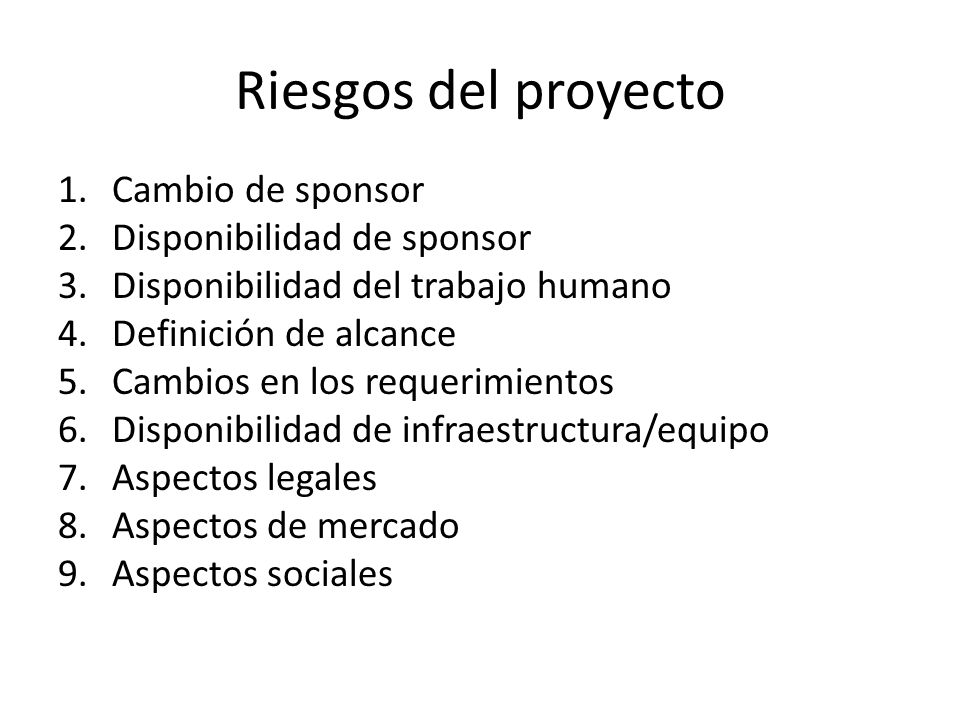 Riesgos del proyecto 1.Cambio de sponsor 2.Disponibilidad de sponsor 3.Disponibilidad del trabajo humano 4.Definición de alcance 5.Cambios en los requ