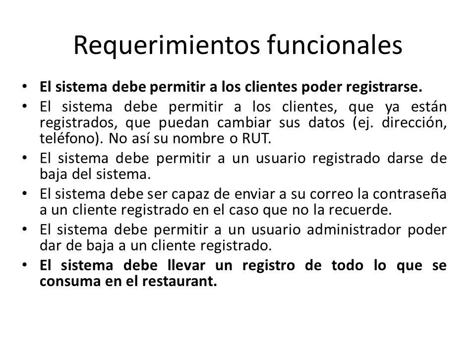 Requerimientos funcionales El sistema debe permitir a los clientes poder registrarse. El sistema debe permitir a los clientes, que ya están registrado
