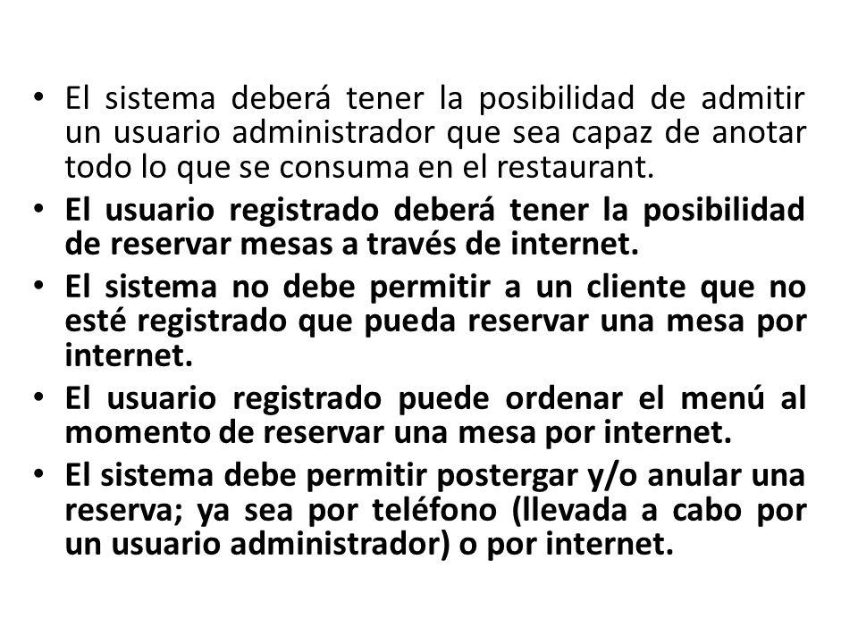 El sistema deberá tener la posibilidad de admitir un usuario administrador capaz de anular, postergar y reservar mesas.