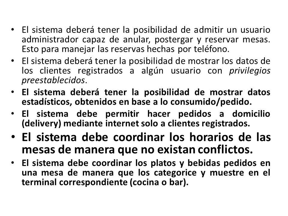 El sistema debe mostrar, en los terminales correspondientes, los platos y bebidas en orden de llegada.