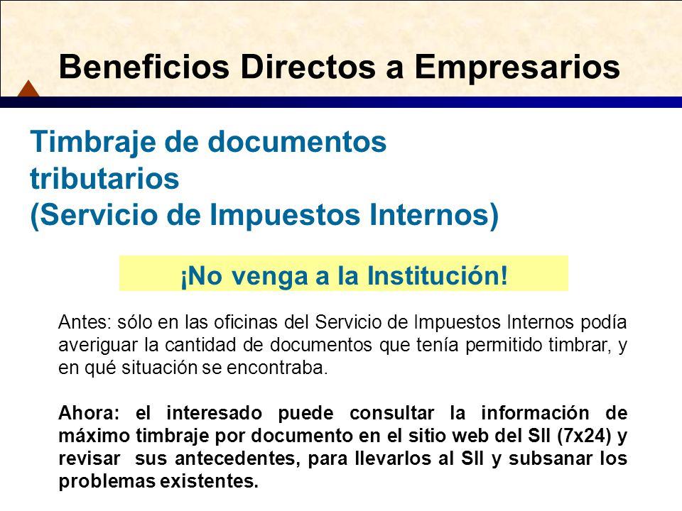 Beneficios Directos a Empresarios ¡No venga a la Institución! Antes: sólo en las oficinas del Servicio de Impuestos Internos podía averiguar la cantid