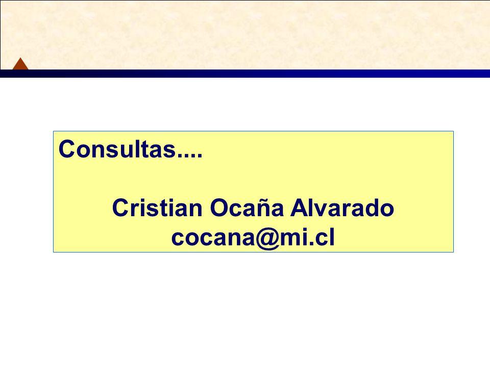 Consultas.... Cristian Ocaña Alvarado cocana@mi.cl