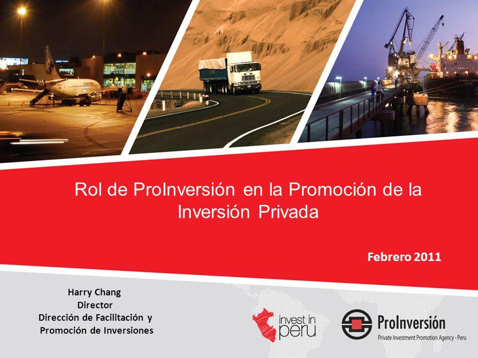 MARCO LEGAL ADECUADO * VOLUNTAD POLÍTICA VECTOR (PROINVERSIÓN) Condiciones para promover el desarrollo de proyectos de infraestructura TÉCNICAMENTE FACTIBLE ECONÓMICAMENTE BANCABLE SOCIAL Y POLÍTICAMNTE ACEPTABLE COMERCIALMENTE PROMOTOR *D.