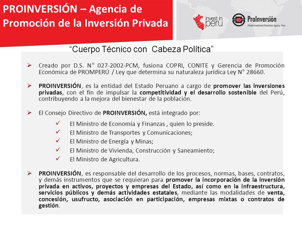 Creado por D.S. N° 027-2002-PCM, fusiona COPRI, CONITE y Gerencia de Promoción Económica de PROMPERÚ / Ley que determina su naturaleza jurídica Ley N°
