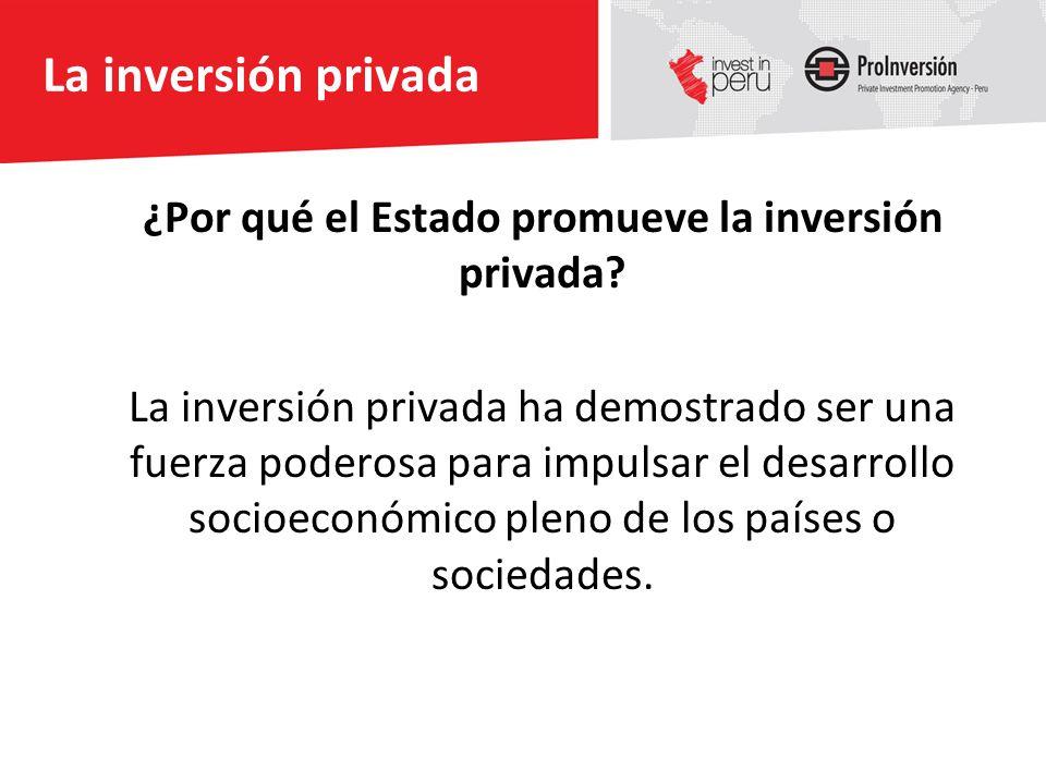 La inversión privada ¿Por qué el Estado promueve la inversión privada? La inversión privada ha demostrado ser una fuerza poderosa para impulsar el des