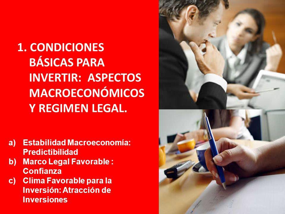 1. CONDICIONES BÁSICAS PARA INVERTIR: ASPECTOS MACROECONÓMICOS Y REGIMEN LEGAL. a)Estabilidad Macroeconomía: Predictibilidad b)Marco Legal Favorable :
