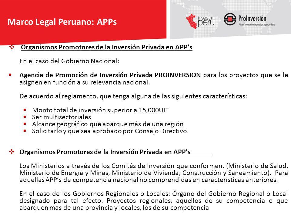 Organismos Promotores de la Inversión Privada en APPs En el caso del Gobierno Nacional: Agencia de Promoción de Inversión Privada PROINVERSION para lo