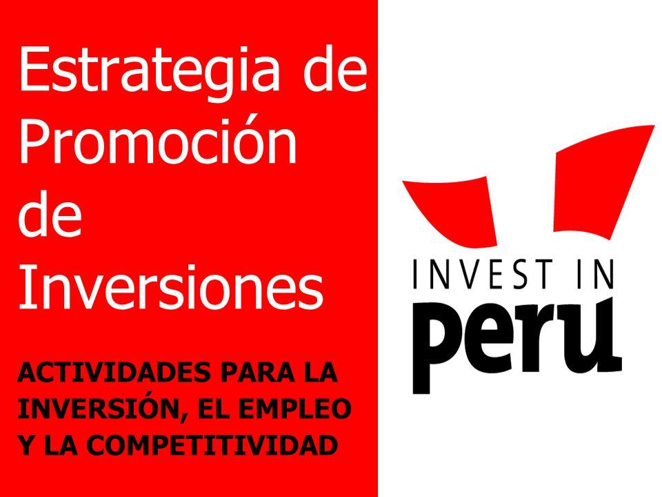 Estrategia de Promoción de Inversiones ACTIVIDADES PARA LA INVERSIÓN, EL EMPLEO Y LA COMPETITIVIDAD