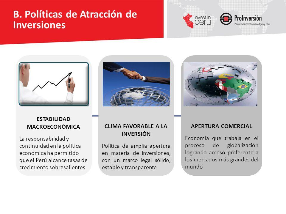 B. Políticas de Atracción de Inversiones ESTABILIDAD MACROECONÓMICA La responsabilidad y continuidad en la política económica ha permitido que el Perú
