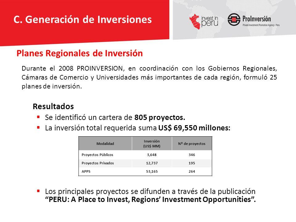 Planes Regionales de Inversión Resultados Se identificó un cartera de 805 proyectos. La inversión total requerida suma US$ 69,550 millones: Los princi
