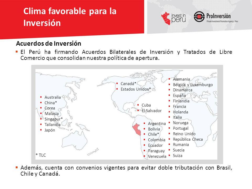 El Perú ha firmando Acuerdos Bilaterales de Inversión y Tratados de Libre Comercio que consolidan nuestra política de apertura. Australia China* Corea