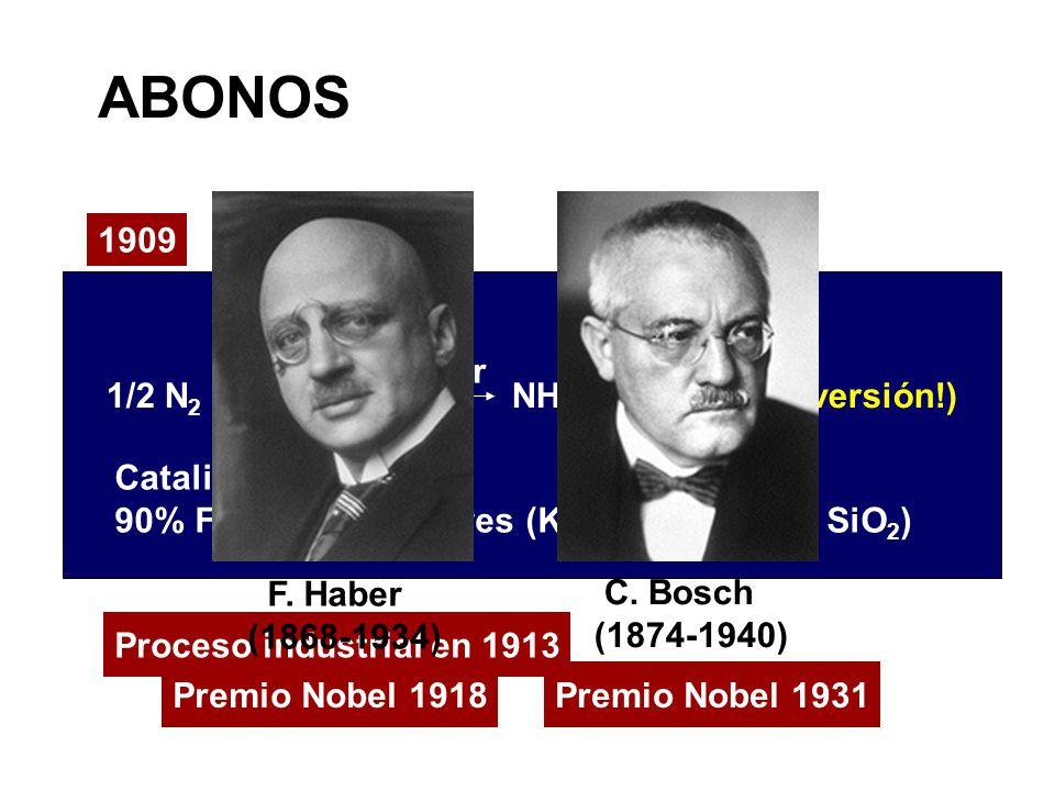ABONOS Premio Nobel 1931 Proceso industrial en 1913 1909 1/2 N 2 + 3/2 H 2 NH 3 (15-25% conversión!) Catalizador: 90% Fe( ) y promotores (K 2 O, Al 2