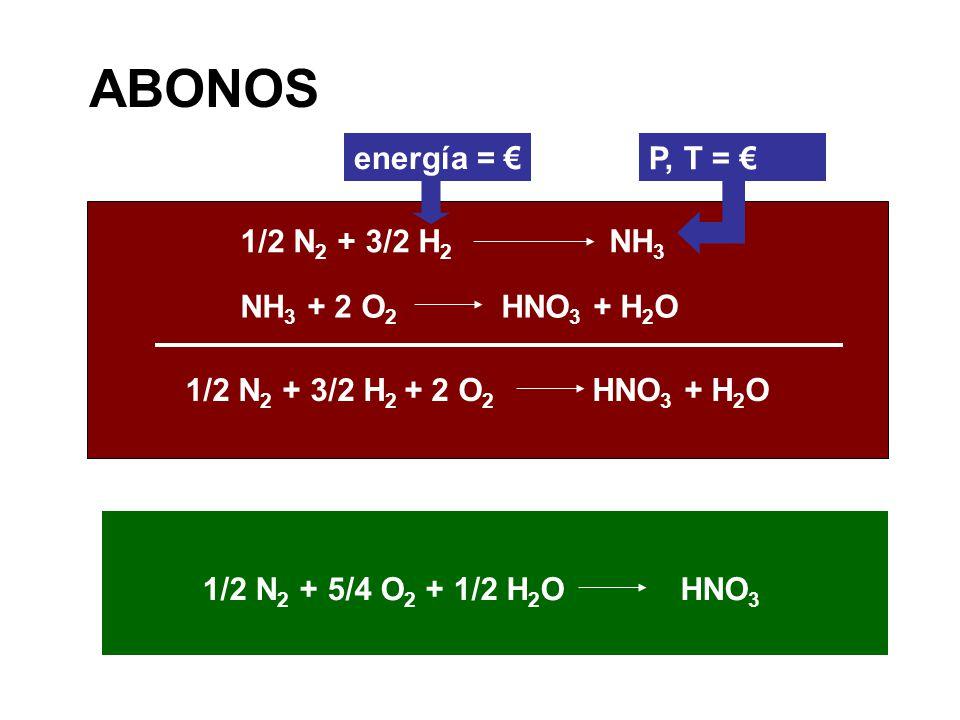 NH 3 + 2 O 2 HNO 3 + H 2 O 1/2 N 2 + 3/2 H 2 NH 3 ABONOS 1/2 N 2 + 3/2 H 2 + 2 O 2 HNO 3 + H 2 O 1/2 N 2 + 5/4 O 2 + 1/2 H 2 O HNO 3 energía = P, T =