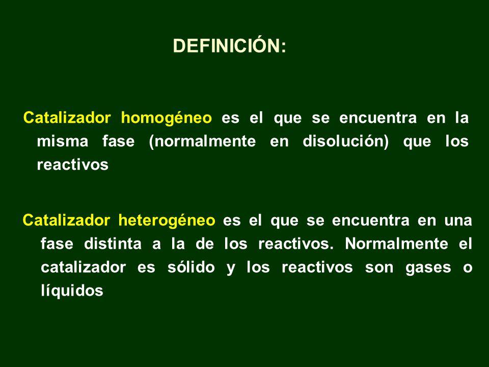 Catalizador homogéneo es el que se encuentra en la misma fase (normalmente en disolución) que los reactivos Catalizador heterogéneo es el que se encue