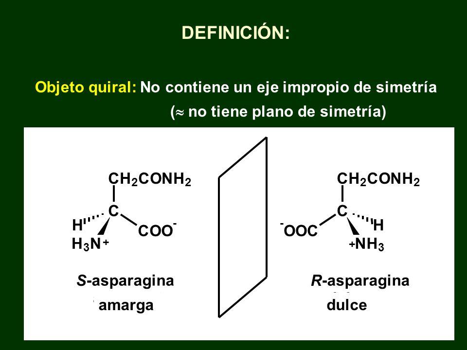 DEFINICIÓN: Objeto quiral: No contiene un eje impropio de simetría ( no tiene plano de simetría) S -asparagina amargant R -asparagina dolça + C - OOC