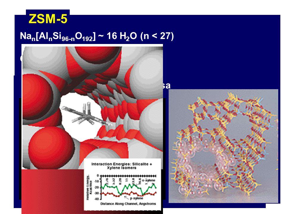 ZSM-5 K 1 Catalizador heterogéneo selectivo Patente US 1972 Na n [Al n Si 96-n O 192 ] ~ 16 H 2 O (n < 27) Características: Carácter de ácido fuerte E