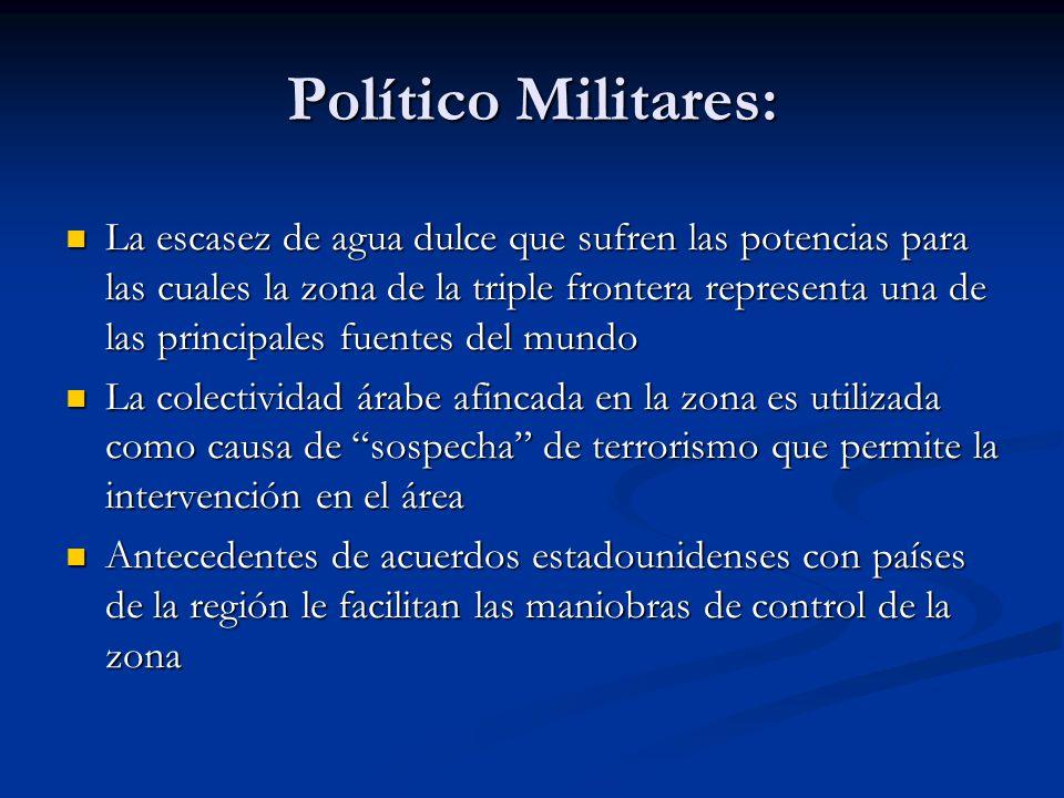 Político Militares: La escasez de agua dulce que sufren las potencias para las cuales la zona de la triple frontera representa una de las principales