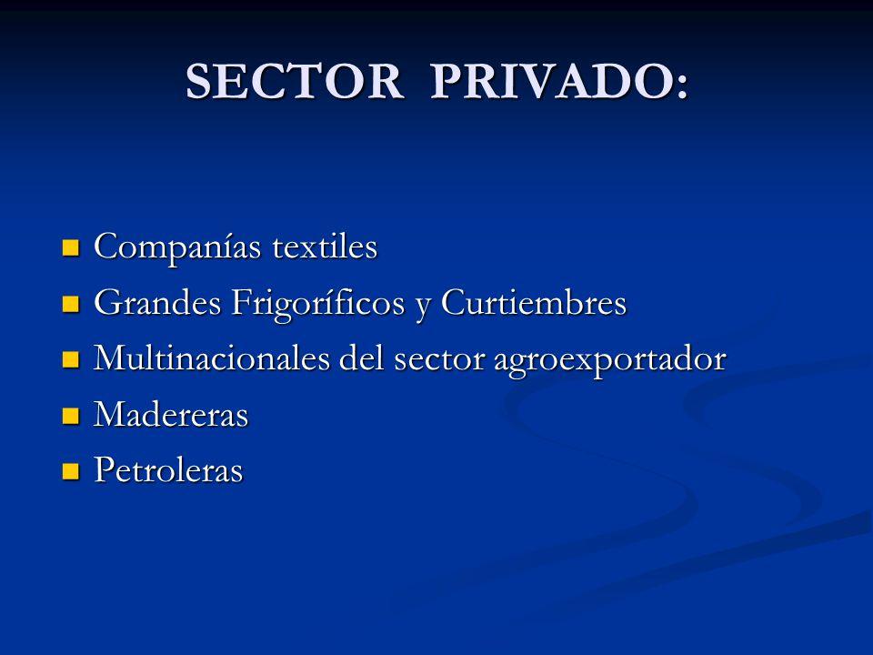 SECTOR PRIVADO: Companías textiles Companías textiles Grandes Frigoríficos y Curtiembres Grandes Frigoríficos y Curtiembres Multinacionales del sector