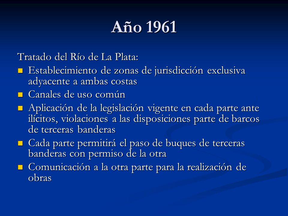 Año 1961 Tratado del Río de La Plata: Establecimiento de zonas de jurisdicción exclusiva adyacente a ambas costas Establecimiento de zonas de jurisdic
