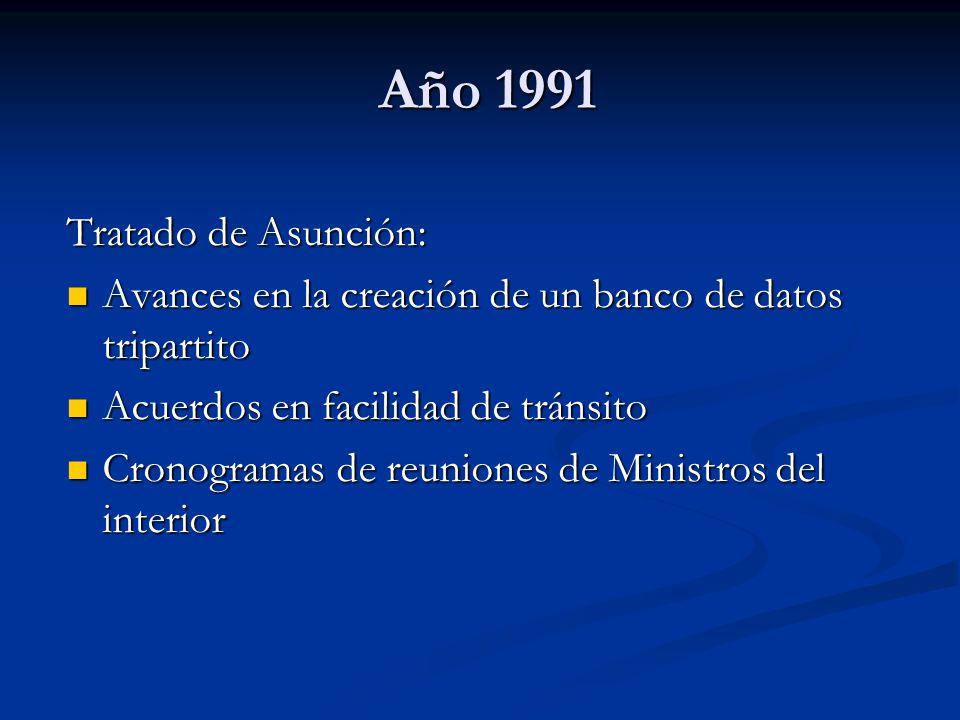 Año 1991 Año 1991 Tratado de Asunción: Avances en la creación de un banco de datos tripartito Avances en la creación de un banco de datos tripartito A