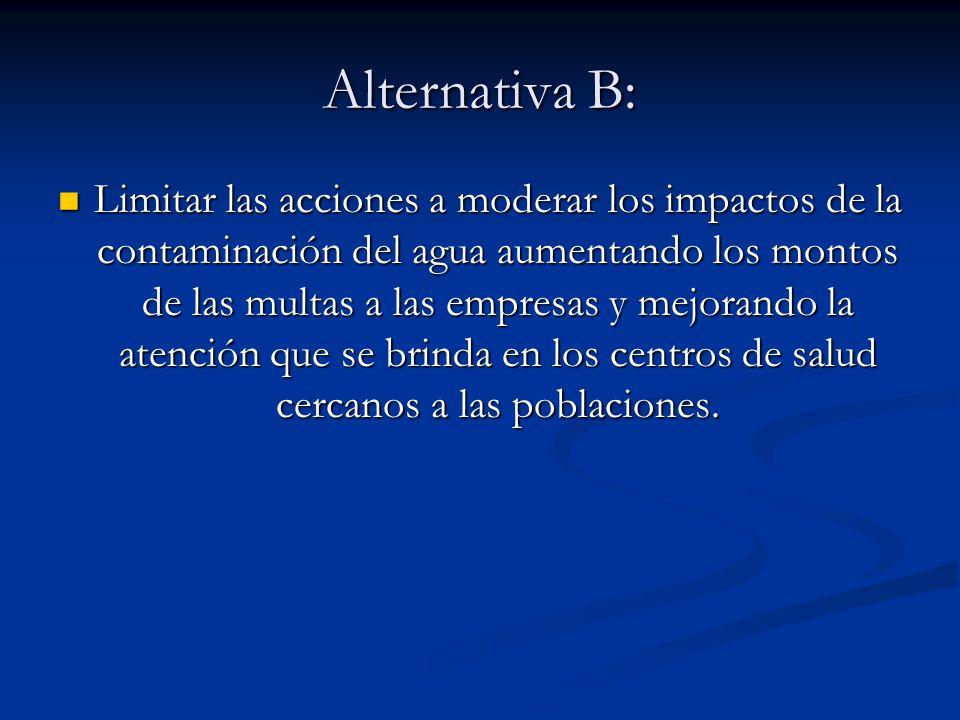 Alternativa B: Limitar las acciones a moderar los impactos de la contaminación del agua aumentando los montos de las multas a las empresas y mejorando