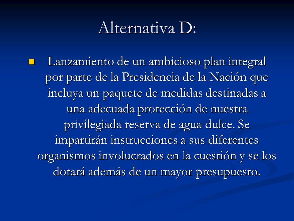 Alternativa D: Lanzamiento de un ambicioso plan integral por parte de la Presidencia de la Nación que incluya un paquete de medidas destinadas a una a