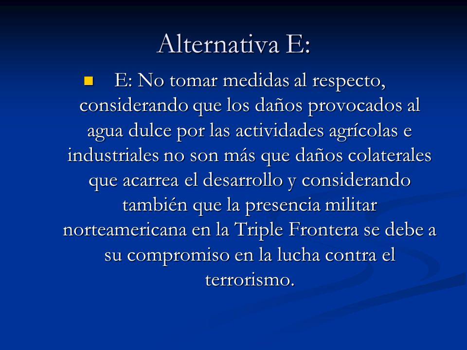 Alternativa E: E: No tomar medidas al respecto, considerando que los daños provocados al agua dulce por las actividades agrícolas e industriales no so