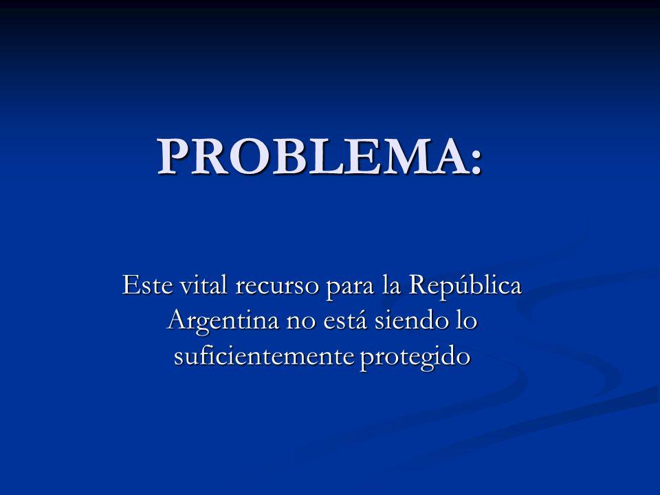 PROBLEMA: Este vital recurso para la República Argentina no está siendo lo suficientemente protegido