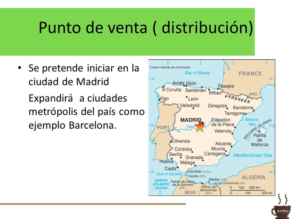 Punto de venta ( distribución) Se pretende iniciar en la ciudad de Madrid Expandirá a ciudades metrópolis del país como ejemplo Barcelona.