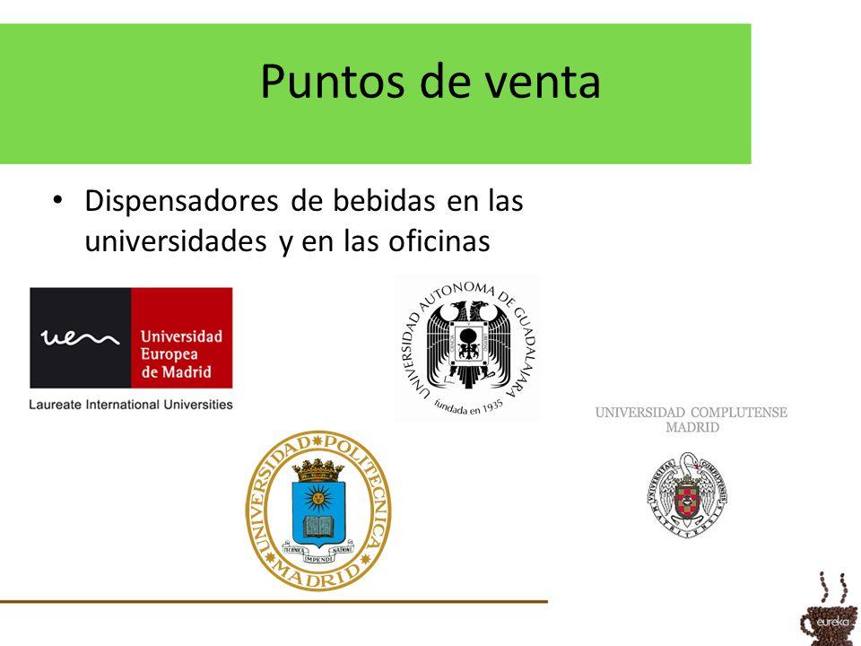 Puntos de venta Dispensadores de bebidas en las universidades y en las oficinas