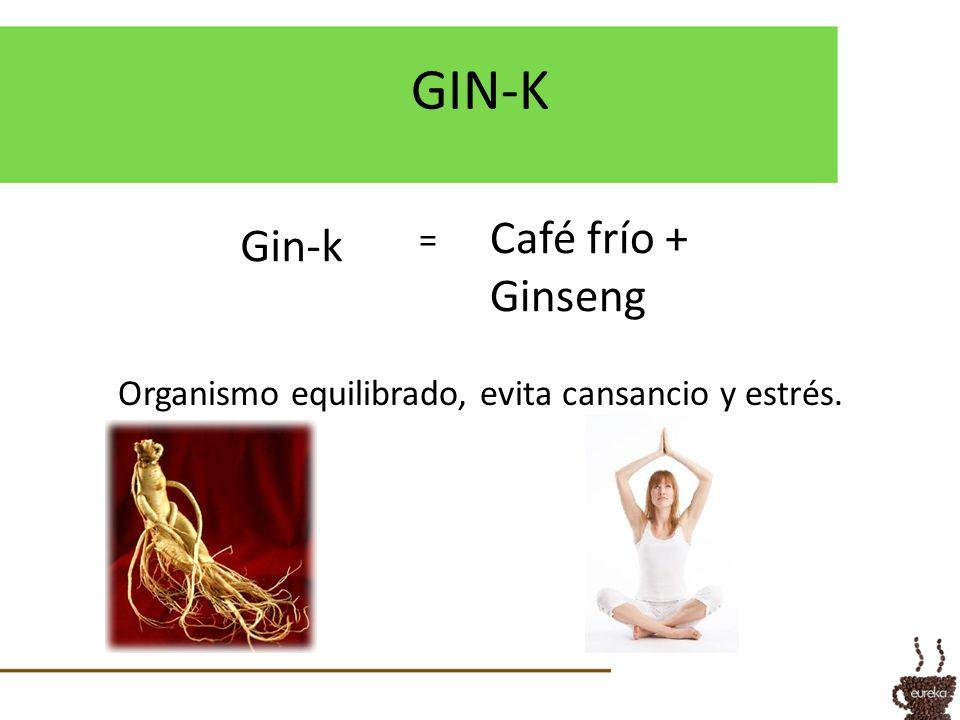 GIN-K Gin-k Café frío + Ginseng Organismo equilibrado, evita cansancio y estrés. =