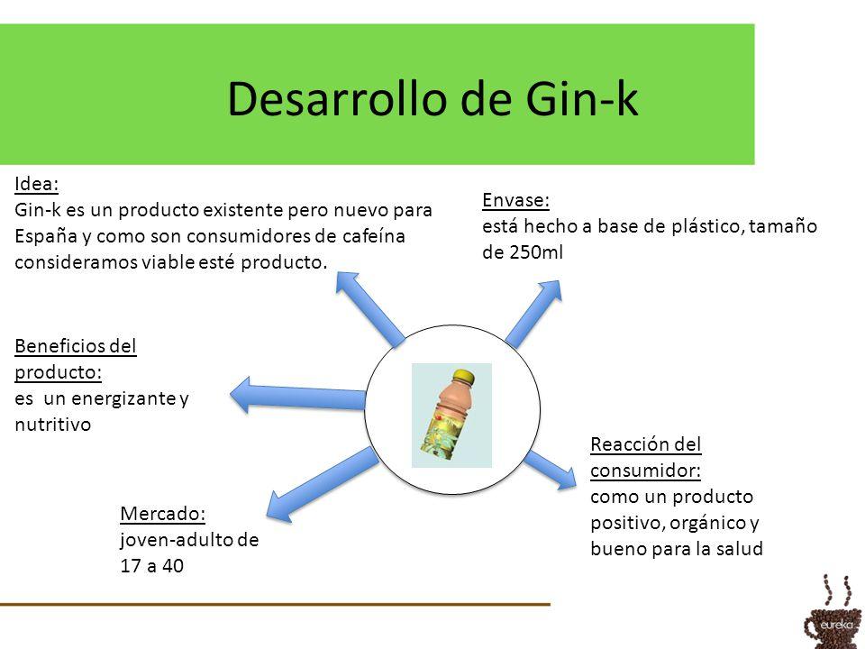 Desarrollo de Gin-k Mercado: joven-adulto de 17 a 40 Beneficios del producto: es un energizante y nutritivo Reacción del consumidor: como un producto