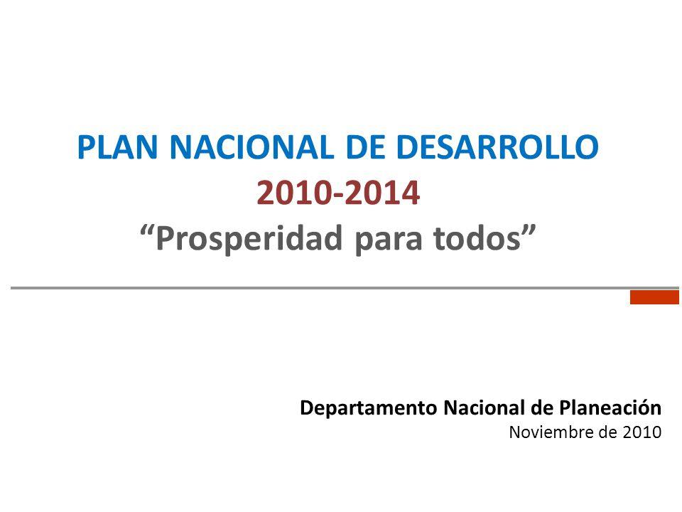 PLAN NACIONAL DE DESARROLLO 2010-2014 Prosperidad para todos Departamento Nacional de Planeación Noviembre de 2010