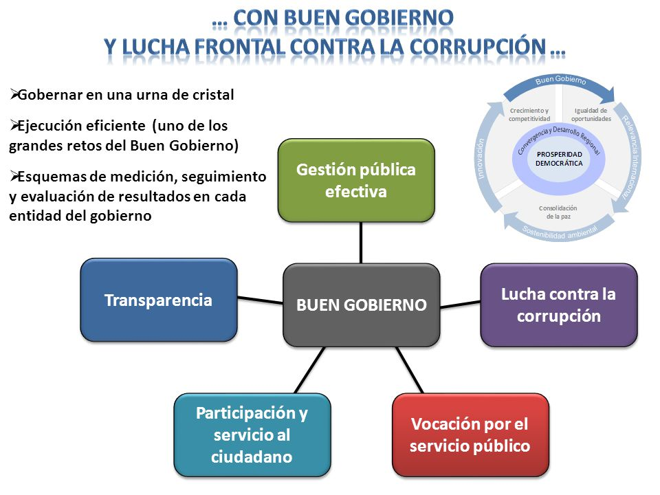 Lucha contra la corrupción Gestión pública efectiva Transparencia Participación y servicio al ciudadano Vocación por el servicio público BUEN GOBIERNO