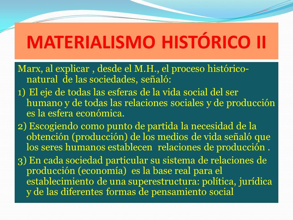 MATERIALISMO HISTÓRICO II Marx, al explicar, desde el M.H., el proceso histórico- natural de las sociedades, señaló: 1) El eje de todas las esferas de