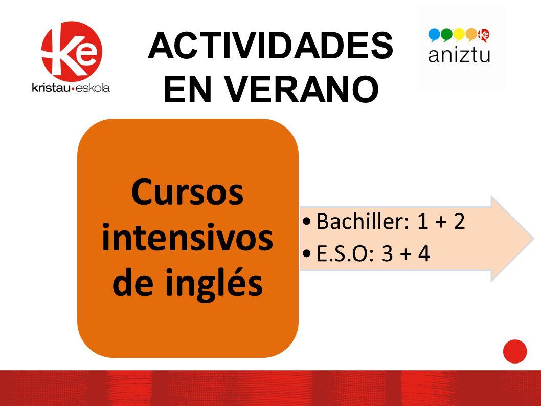 ACTIVIDADES EN VERANO Bachiller: 1 + 2 E.S.O: 3 + 4 Cursos intensivos de inglés