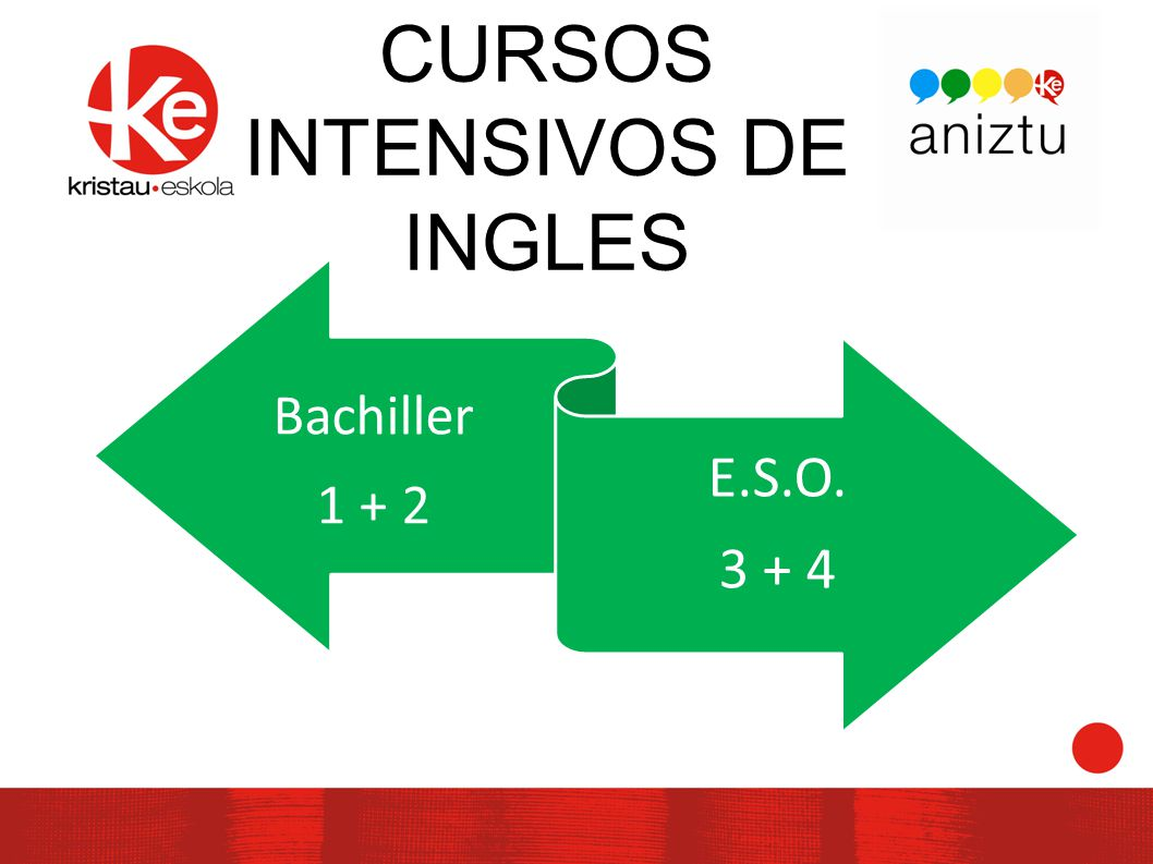 CURSOS INTENSIVOS DE INGLES Bachiller 1 + 2 E.S.O. 3 + 4