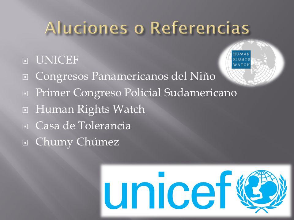 UNICEF Congresos Panamericanos del Niño Primer Congreso Policial Sudamericano Human Rights Watch Casa de Tolerancia Chumy Chúmez